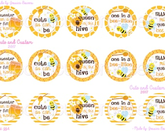 Queen of the Hive- Bottle Cap Images- INSTANT DOWNLOAD- Bee Sayings- Bee Images- Cute As Can Be- One In A Bee-illion- Queen Bee- 1 Inch
