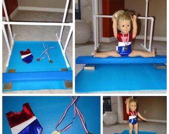 """American Girl 18"""" Doll 6 piece set Balance beam Parellel Bars Mat SHIMMERY RED Leotard Mat & Gold Medals"""
