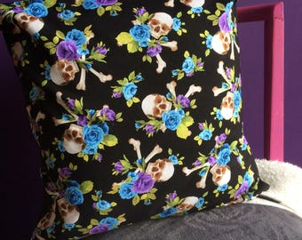 Blue Skulls & Roses Cushion Cover