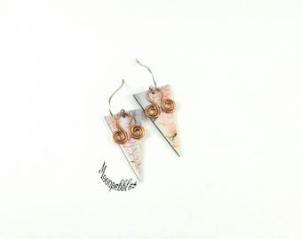 Above the Clouds polymer clay and copper wire wrapped drop earrings