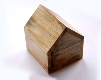 House shaped wooden trinket box made from recycled Australian wood