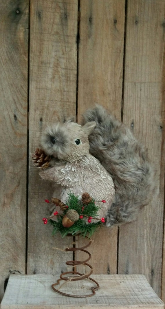 rustic christmas tree topper bed spring squirrel large furry. Black Bedroom Furniture Sets. Home Design Ideas