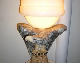 Huge rare Art Deco Italian alabaster marble eagle lamp VANNI circa 1930