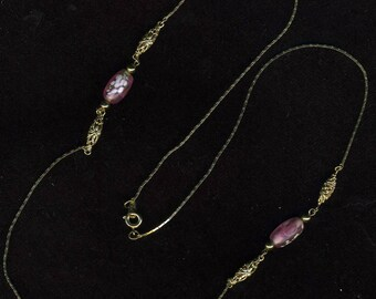 Necklace, Gold Chain with Pink Glass Beads