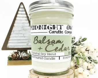 Balsam and Cedar Mason Jar Candle 8oz or 16oz, scented candles, candle, winter, sale, Midnight Owl Candle Mason Jar, Balsam cedar