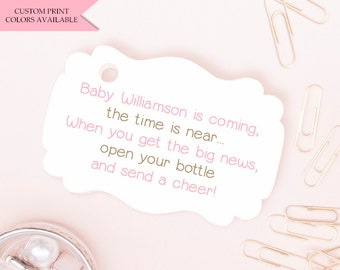 Baby is coming the time is near tags (30) - Baby shower tags - Baby shower favor tags - Baby shower gift tags - Mini champagne bottle favors