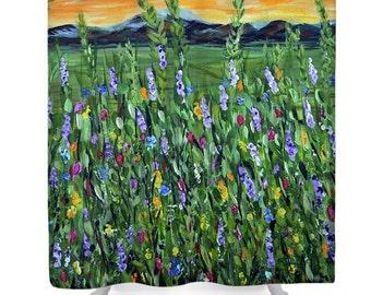 Twilight Mountains Shower Curtain