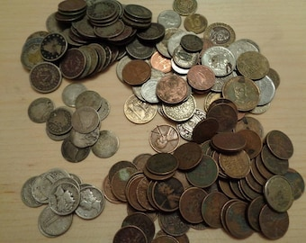 Cull Coins,Old US Coin Collection,Vintage ,Silver Coins: Seated Liberty Dime, Mercury Dime, Liberty Nickels,Wheat Pennies,World Coins