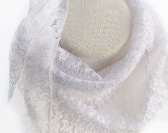 SMALL White LACE SCARF,  White lace scarf, Babtismal Scarf, Chapel lace Veil, Victorian lace scarf Bar Mitzvah scarves Small Girl lace scarf
