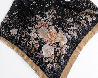 Brown Floral Satin Head Scarf Birthday Gift for friend Hospital cancer donation gift, Thank you gifts, Fundraiser items, Satin paisley scarf
