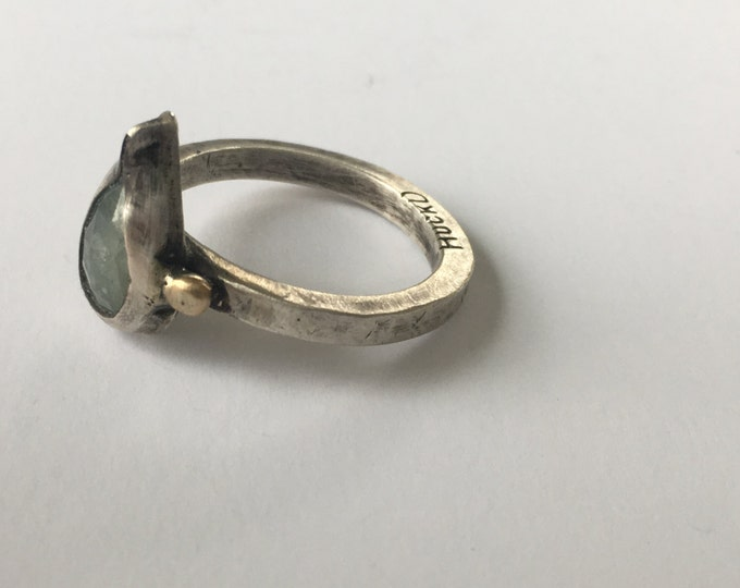 Rustic Pear Sapphire Ring