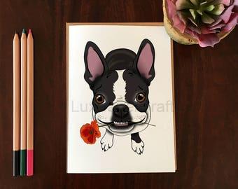 Boston Terrier Card, Blank Greeting Card, Boston Terrier, Red Poppy, Boston Terrier with Flower, Any Occasion, Cute Dog Card