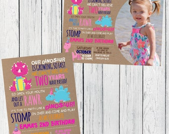 Dinosaur Party: Personalized birthday invitation- ***Digital File*** (Dinosaur-Craft)