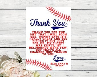 Baby Shower- Thank You Card - Personalized- Baseball  Matching design  ***Digital File*** (Baby-BaseballthxPsnlzd)