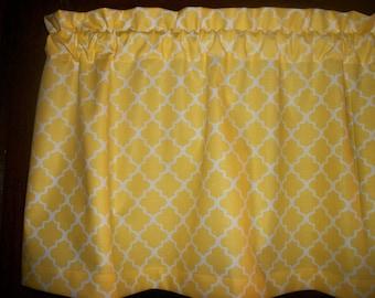 Sunny Yellow Ogee lattice retro modern mid-century fabric topper curtain Valance