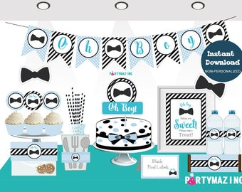 Oh Boy Baby Shower Set, Little Man Printable Baby Shower Package, Blue Bow Tie Full Party Decoration Kit, Instant Download -D853 BBLM1