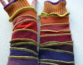 Katwise inspired Arm warmers / wristwarmer / fingerless gloves red purple ombre whimsical stripes lined