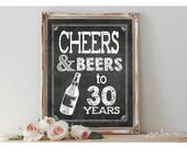 Instant 'CHEERS AND BEERS to 30 years' Printable 8x10, 11x14 Chalkboard 30th Birthday Beer Bar Printable Sign