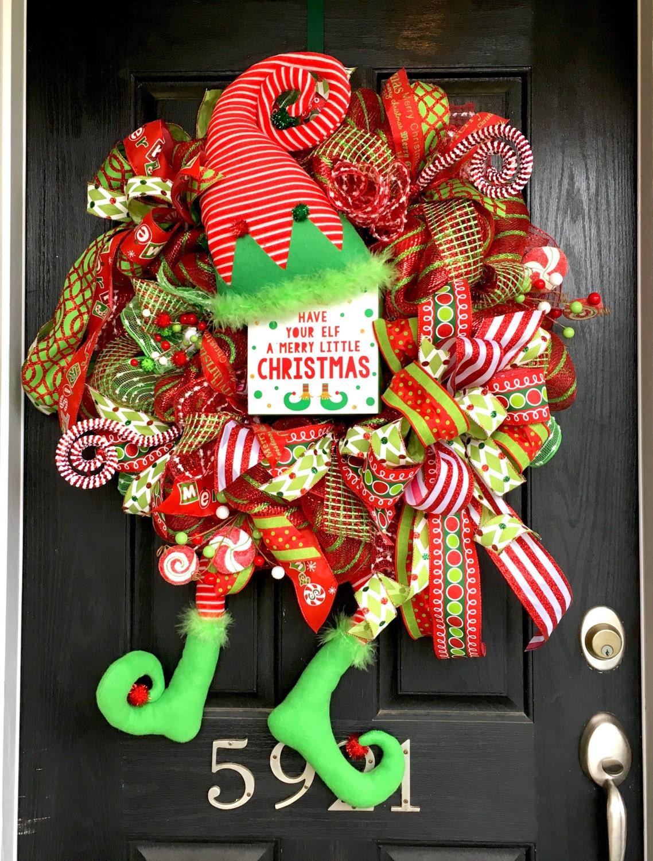 Elf Wreath Christmas Deco Mesh Wreath Christmas Elf Wreath