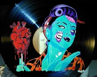 hand painted custom zombie pinup vinyl record wall art