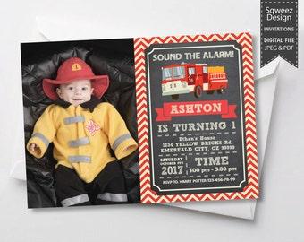 Firetruck invitation, Firefighter Invitation, Firefighter Party Invitation, Fireman Invitation, Chalkboard vintage - JPEG & PDF File