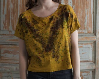 Hand dyed yellow/ mustard with brown, blue and red cotton one-piece t-shirt