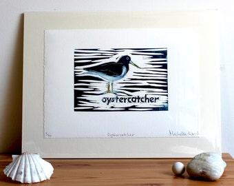 Oystercatcher original lino cut