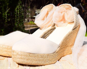 SWAN Tulle Wedge Platform Lace Up Espadrilles Ivory Wedding Bridal shoes