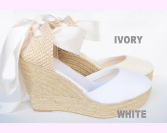 Pure Ibiza Wedge Platform Lace Up Espadrilles ivory or white Boho Beach wedding style