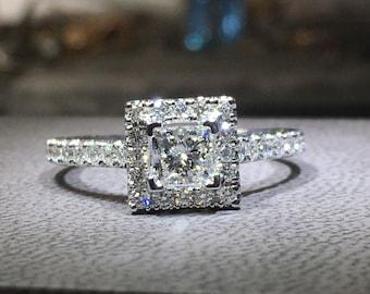 0.5 Carat Halo Ring, Princess Halo Diamond Ring, Diamond Engagement Ring, 14k White Gold Ring, Diamond Gold Ring FREE SHIPPING