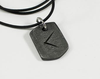Damascus Kenaz - Pattern Welded Hand Forged Viking Runic Pendant
