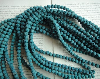 Blue - 7mm lava stone color mixed round beads, 15.5 inch