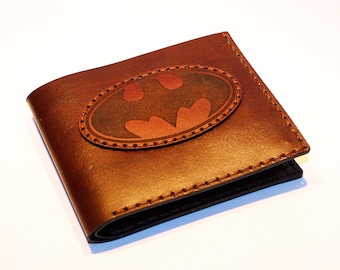 Leather wallet with batman logo, brown wallet, great leather item, brown men's wallet, credit card wallet, gift for men, Batman.