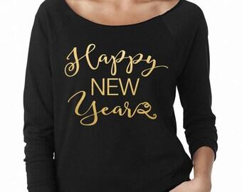 Happy New Year Swirl Wide Neck Fleece