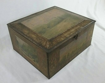 Vintage tin box with beautiful lithograph landscapes and scenes