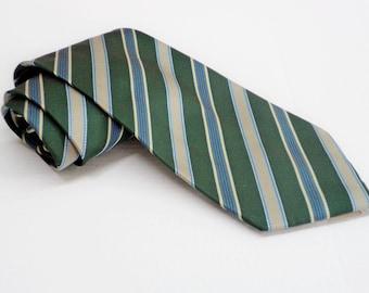 Vintage Mens 1970's Marshall Tie Diagonal striped Silk Necktie Vintage Elegant Menswear Green Blue Beige Stripe For Him