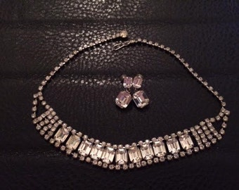 Vintage 1940's Clear Rhinestone Necklace and Earring Set