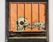 Train art coaster:  Skull - Label #1 - Train Graffiti. Individually photographed and hand made by Frank Heflin