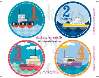 Month by Month Baby Stickers - Boat / Tugboat Theme