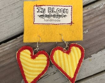 Fabric Earring Heart Collection #3