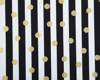 Blanket - Black and White Stripe with Gold Dot and Minky on Back
