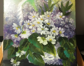 Oil Painting on canvas - Lilacs and Daisies