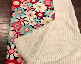 Minky and faux fur baby/toddler blanket