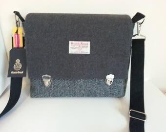 Grey Harris Tweed Satchel / Messenger Bag