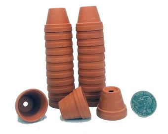"25 - 1 1/8"" Teensy Size Clay Pots - Great for Plants/Crafts/Fairy Gardens"