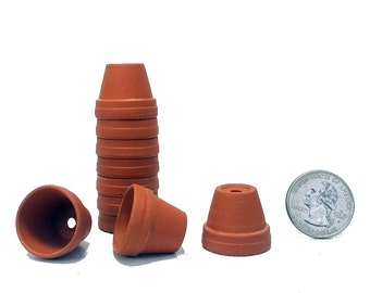 "10 - 7/8"" Thimble Size Clay Pots - Great for Plants/Crafts/Fairy Gardens"
