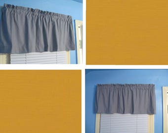 Solid Golden Gray Lined and Unlined Window Curtain Valance