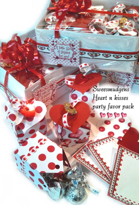Hearts kisses sweetheart valentine favors set 6 hostess gift packs red pink white Birthday Sweet 16 Mothers Day Anniversary engagement party