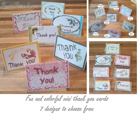 Bulk price fun and colorful all occasion mini thank you cards bi fold place cards mini gift tags floral supply event tags spring package tag