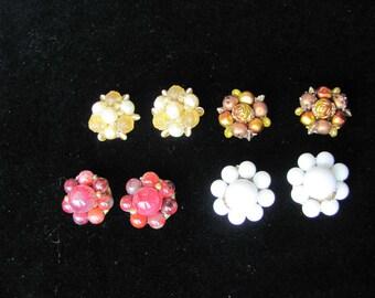 Vintage Earrings, 4 pair Hong Kong, Clip